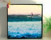 Surfing Photography Wood block, Vintage Surfer Art, Surfing Wall Art Photography, Malibu Beach, In Stock, Gift for Men