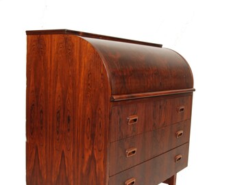 Signed Danish Rosewood Roll Top Desk