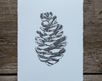 "Pine Cone Linocut ""Cone"", hand pulled linoleum block print in black on blue paper, original nature art"