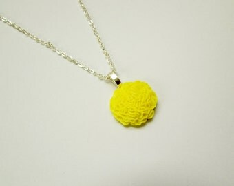 Yellow Ruffle Flower Necklace