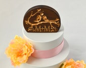 Love Birds Solid Wood Wedding Cake Topper with your personalized custom initials
