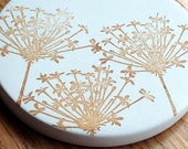 cup holder coaster, wine glass coaster - hand stamped bisque tile, absorbent -- queen anne's lace