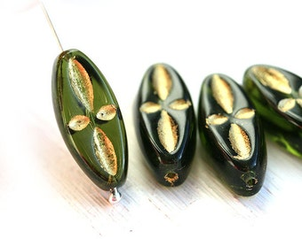 Olivine glass beads, Golden inlays, Olive green czech pressed beads, long oval beads, 20mm - 4Pc - 1707