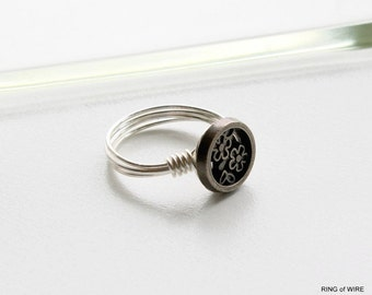 Silver Flower Button Ring, Silver Button Ring, Wire Wrapped Ring, Silver Wire Ring, Metal Button Ring, Pinkie Ring, Round Button Ring