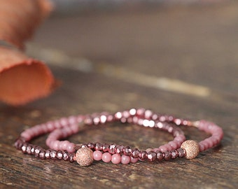 Pyrite and Rose Gold Bracelet - Pretty Pink and Sparkly Bracelet