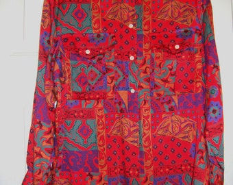 Vintage Red Ruff Hewn Women's Blouse, 1980's, Size Medium