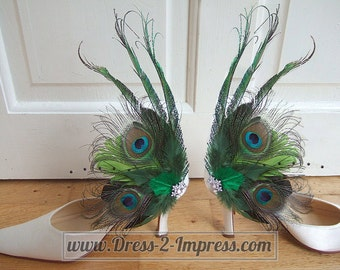Bridal Curled Peacock Feathers and Crystal Brooch Lime Emerald Olive Green Shoe Clips SCB118 Woodland Wedding Mother of the Bride Ideas