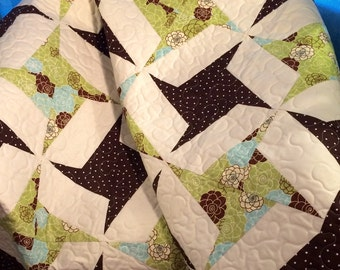 "Tumbling Stars In Brown, Spring Green and Aqua Altogether In This 49"" X 49"" Quilt"