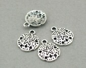 Sand Dollar Shell Charms Antique Silver 10pcs base metal beads 12X15mm CM0773S