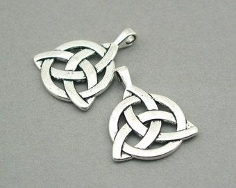 Celtic knot Charms Antique silver 2pcs base metal pendant beads 27X35mm CM0767S