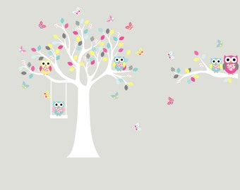tree decal, vinyl wall decal, tree branch, nursery decal, owl tree, swing, wall decals,