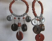 Boho Earrings Wood Heishi Coconut Beaded Dangles Artisan Hand Crafted Tribal Gypsy Hippie Festival Rust Orange Brown Silver Pierced