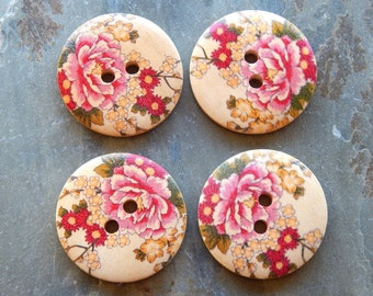 30mm - 2 Hole Beautiful Painted Floral Wood Buttons, 4 PC (INDOC324)