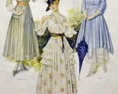 Vintage Artwork - Framed McCall's Advertisement - Summer Frocks - C1915 - Vintage Decor - Edwardian Fashion Wall Hanging - Office Decoration