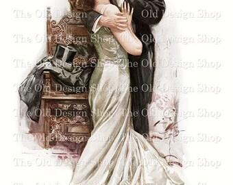 Harrison Fisher Vintage Art titled The Kiss Printable Digital Download JPG Image