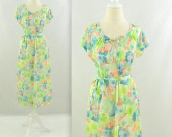 Watercolor Garden Dress - Vintage 1970s Pastel Floral  A line Day Dress - Large by Valentine