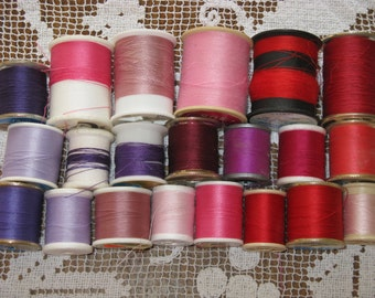 Vintage Sewing Thread  21 Spools Red, Pink, Purple Cotton and Polyester
