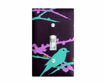 Sparrow Light Switch Plate Cover / Baby Girl Nursery Decor / Girls Room / Aviary 2 Sparrows Lilac / Joel Dewberry