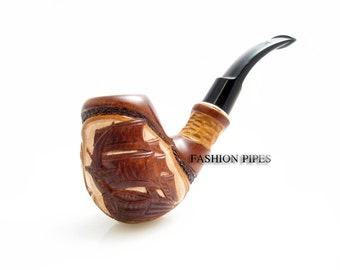 "Carved Tobacco Pipe / Pipes-Smoking Pipe/Pipes. Handcrafted Wooden Pipe ""SHIP"" & POUCH"" Exclusive Wood Pipes Tobacciana pipe"