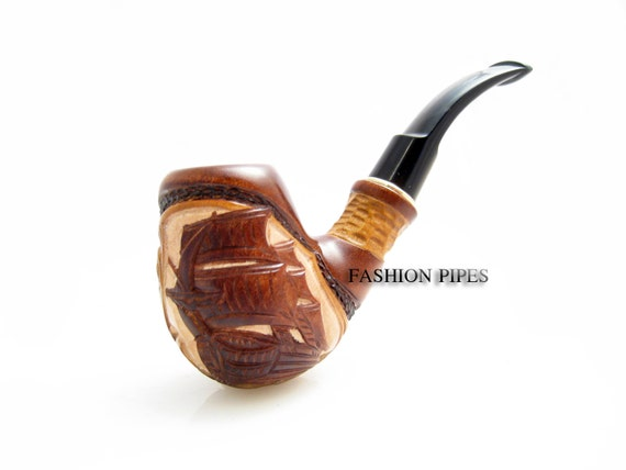 """Carved Tobacco Pipe / Pipes-Smoking Pipe/Pipes. Handcrafted Wooden Pipe """"SHIP"""" & POUCH"""" Exclusive Wood Pipes Tobacciana pipe"""