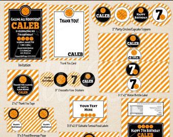 Basketball Party Printables - Basketball Birthday - Printable Party Set - Sports Party Kit - DIY Basketball Party
