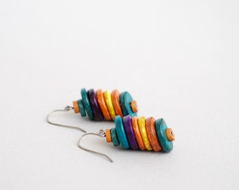 Coconut Colorful Earrings, Multy Color Earrings, Dangle Earrings