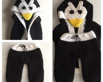 Crochet Angry Bird Hooded Vest Pant Set
