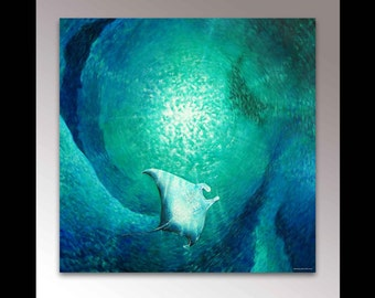 Manta Ray Painting | Sea Life Art | Manta Ray Art | Sea Creature | Stingray Art | Ocean Art | Under the Sea | Scuba Diving