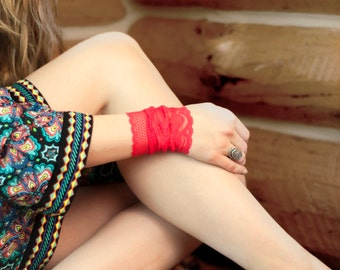 Red Lace Wrist Cuff, Wide Lace Bracelet, Arm Band, Accessory, Bohemian Wristband Tattoo Cover Up Covers , Boho Long Cuffs, Women Sexy Lacey