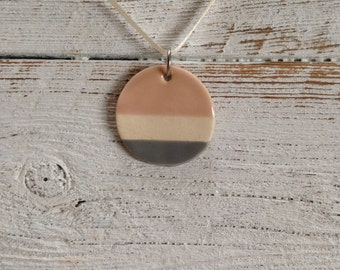 Blush and Grey Ceramic Pendant, Modern, Minimal, Unique Gift, Simple, Holiday Gift, Fall Fashion, Ceramic Jewelry