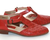 Ipanema Red Leather Sandals Mary Jane 7 75