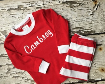 Embroidered Personalized Pajamas - Red/White Monogrammed Striped Pjs - Christmas Personalized PJs - Name Pajamas