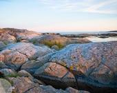 Digital download -  Scandinavian coast photography art wall decor nature rock cliff zen minimalist grey pink sky landscape seascape