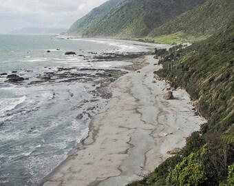 Digital download - photography decor beach seascape wilderness stormy waves blue turqoise coast misty New Zeeland dramatic