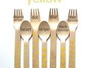 Yellow Chevron forks-yellow polka dot forks-yellow striped forks-yellow chevron spoons-yellow polka dot spoons-yellow striped spoons-50
