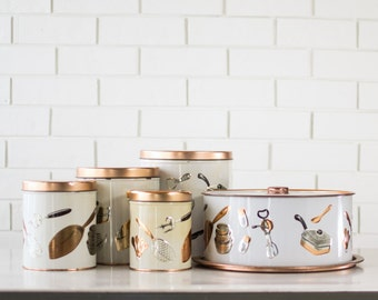 Metal Kitchen Canisters - Kitchen Storage Set - Copper and Silver Kitchen Utensils - Cake Carrier - Weibro Chicago - Set of 5