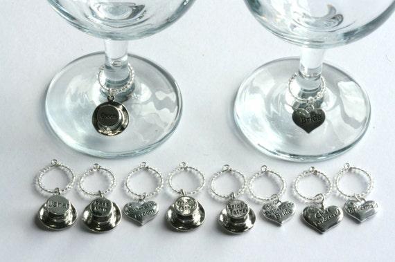 Personalized Wedding Wine Glass Charms : Wine Glass Charms x10 CUSTOM DESIGNED - wedding favour, favor, hen do ...