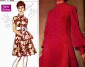 PATTERN Simplicity 8031 Shift dress with side panels roll collar and sleeve options Size 12 Vintage uncut