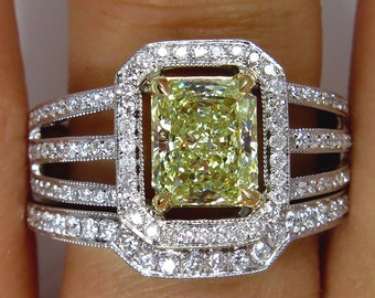 "Estate ""Canary""  2.00ctw Natural Fancy  YELLOW Radiant Cut Diamond Engagement Ring With Matching Wedding Band, EGL USA"