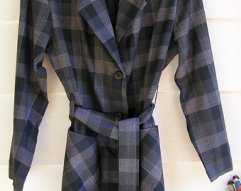 80s Black Grey and White Plaid Long Wrap Jacket SMALL