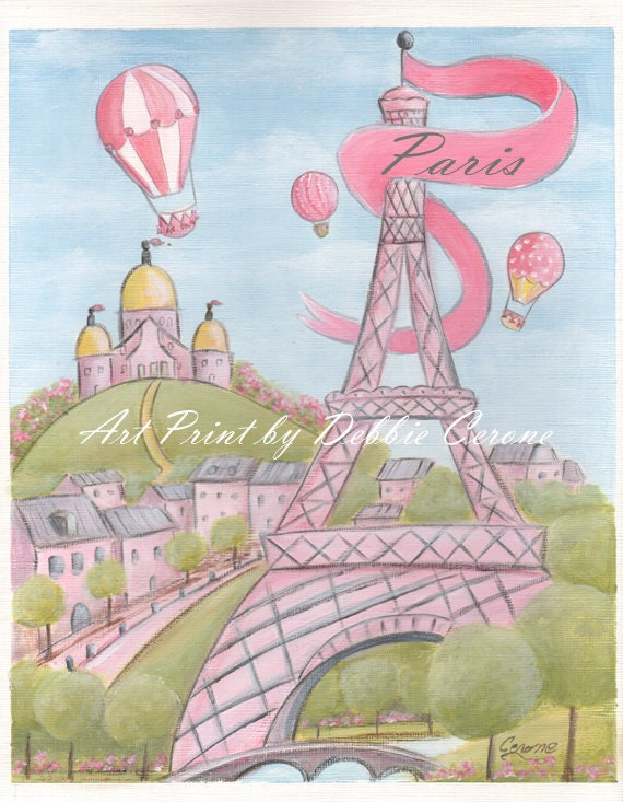 Pink Paris Art Prints Paris Decor Eiffel By Nurseryrembrandts