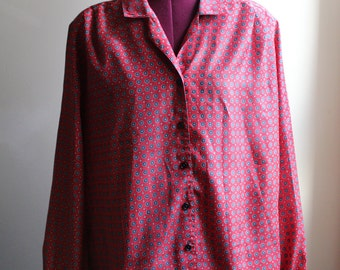 1980s Red & Grey Dotted Blouse