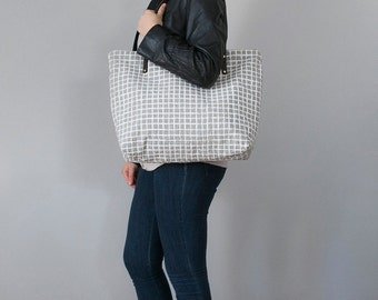 Screen Print Natural Linen Weekender Tote Bag Brown Leather Handles