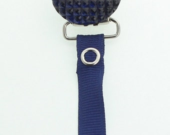 Navy Crystal Clip with Solid Ribbon Pacifier Clip (RQSN)(msrp 19.99)