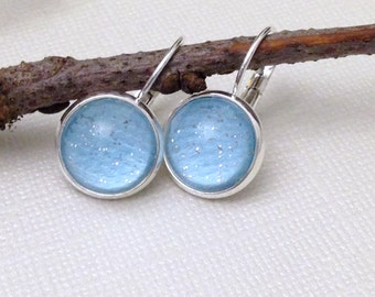 Glass Cabochon Earrings, Light Blue,Shimmer,Sparkle,Glass Dome