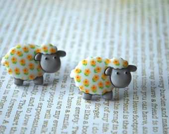 Sheep Earrings -- Sheep Studs, Lamb Earrings, Lamb Studs, Animal Lover