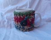 Crocheted Coffee Cozy / Mug Warmer in Rich Colors