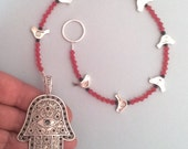 Hamasa Hand Wall Ornament Decoration, Judaica Israeli, Silver Birds, Fatima hand