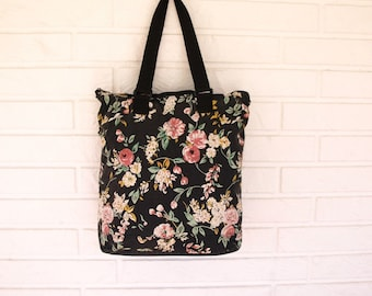 Vintage 90s roomy canvas floral tote bag