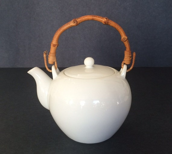 Teapot white 2 cups bamboo handle - Bamboo teapot handles ...